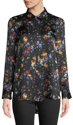 ADAM by Adam Lippes Long-Sleeve Button-Down Floral-Print Hammered Silk Shirt