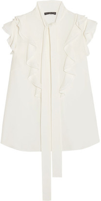 Alexander McQueen - Pussy-bow Ruffled Silk-georgette Blouse - White $1,275 thestylecure.com