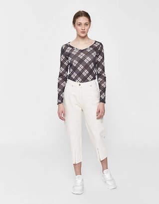 Aalto Cropped Zipper Jean in Beige