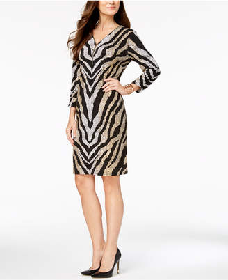 JM Collection Foil-Print Sheath Dress