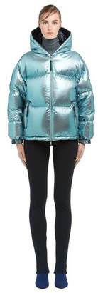 Prada Irise Voile And Silver Ripstop Puffer Jacket