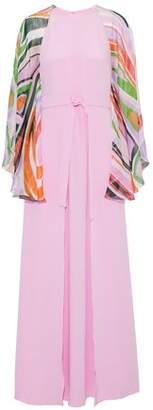 Emilio Pucci Printed Chiffon-Paneled Layered Silk Crepe De Chine Gown