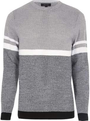 River Island Mens Grey colour block jumper