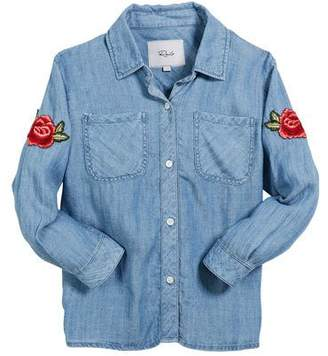 Rails Little Carter Denim Top w/ Rose Patches, Size 6-14