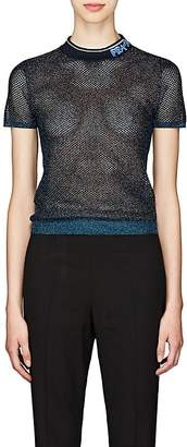 Prada Women's Metallic Sheer Silk-Blend Mesh Top