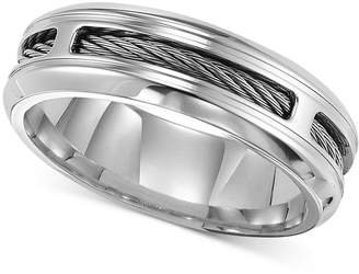 Triton Men Stainless Steel Ring, Comfort Fit Cable Wedding Band