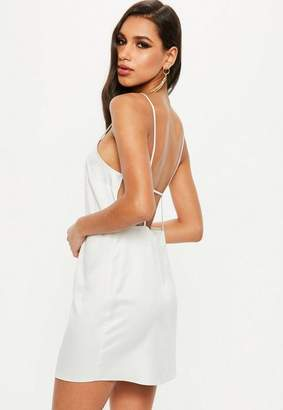 Missguided White Satin Low Back Strappy Shift Dress