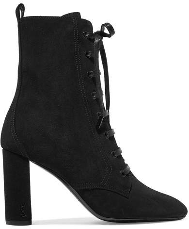 Saint Laurent - Lou Lou Suede Ankle Boots - Black