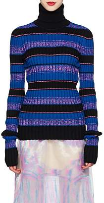 Maison Margiela Women's Striped Rib-Knit Wool-Blend Caged-Back Turtleneck Sweater