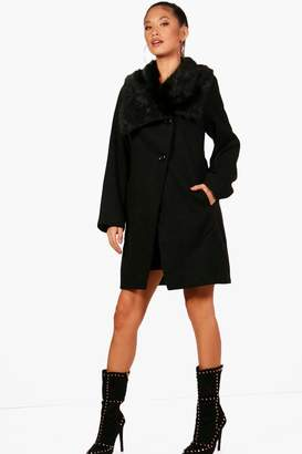 boohoo Elizabeth Oversized Faux Fur Collar Wool Look Coat