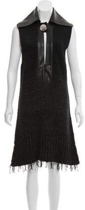 Calvin Klein Collection Wool-Blend Leather-Paneled Dress