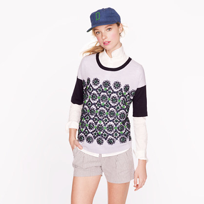 J.Crew Collection short-sleeve embellished sweater