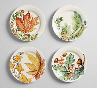 Pottery Barn Watercolor Leaves Salad Plate, Set of 4