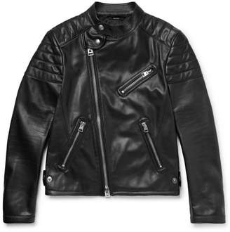 Tom Ford Slim-Fit Leather Biker Jacket - Black