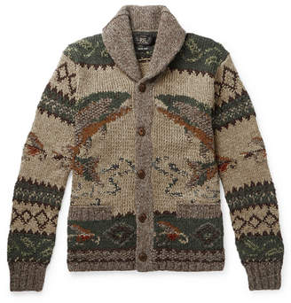 RRL Shawl-Collar Intarsia Wool-Blend Cardigan