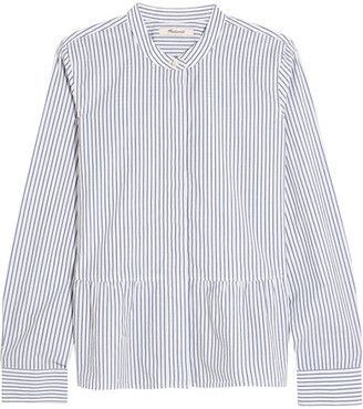 Madewell - Lakeside Striped Cotton-poplin Peplum Shirt - Blue $70 thestylecure.com