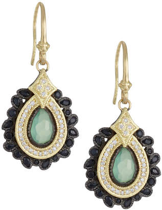 Armenta Old World Pear Cluster Earrings w/ Mixed Stones & Diamonds