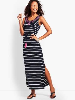 Talbots Embroidered Tassel-Belt Stripe Jersey Maxi Dress