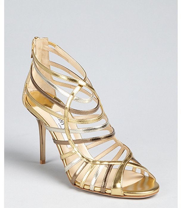 Jimmy Choo gold leather 'Vicky' multi tone cage sandals