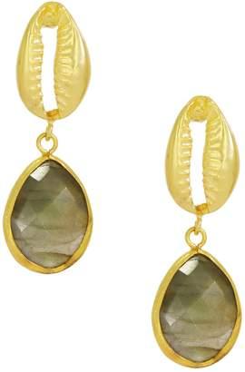 Ottoman Hands - Cypraea Labradorite and Shell Earrings