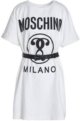 Moschino Belted Printed Cotton-Blend Jersey Mini Dress