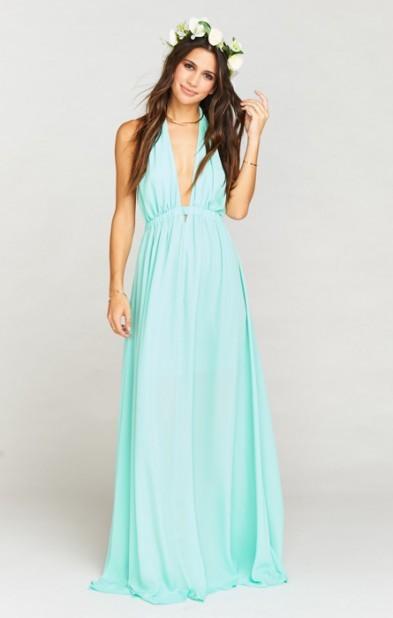 Luna Halter Dress ~ Sea Glass Crisp