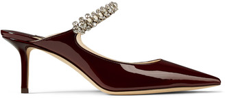 Jimmy Choo BING 65 Bordeaux Patent Leather Mules with Crystal Strap