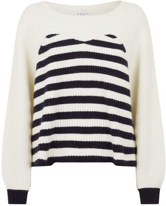Claudie Pierlot Striped Ribbed Sweater