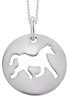 """Distributed by Target Women's Sterling Silver Plain Cutout Horse Pendant (18"""")"""