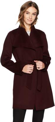 T Tahari Women's Wool Long Coat with Tie Belt