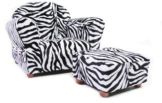 Keet Roundy Children's Chair Zebra with ottoman
