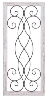 """Patton Wall Decor 21""""x48"""" Rustic White Washed Wood and Metal Decorative Scroll Wall Decor White"""