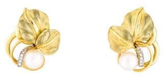 18K Pearl & Diamond Leaf Earrings