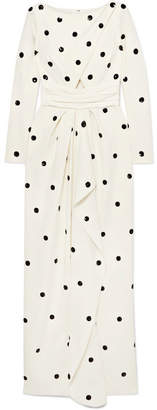 Oscar de la Renta Cutout Sequin-embellished Stretch-silk Cady Gown - White