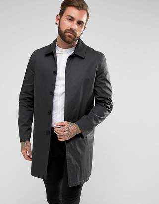 New Look Single Breasted Cotton Trench In Black
