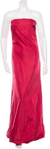 prada Prada Satin Strapless Dress