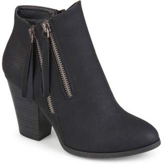 Co Brinley Collection Brinley Women's Faux Suede Stacked Wood Heel Double Zipper Booties