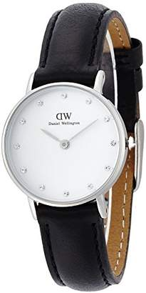 Daniel Wellington Women's Quartz Watch with White Dial Analogue Display and Black Leather Strap 0921DW