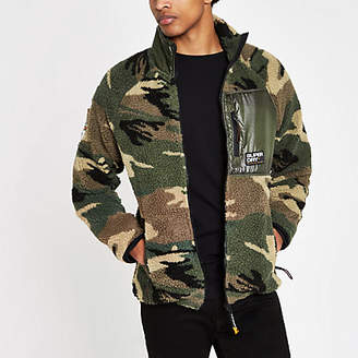 River Island Superdry green camo zip up fleece jacket