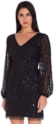 Adrianna Papell Womens Black Beaded Cocktail Dress - Black