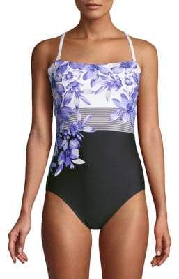 b1770af9adcba Calvin Klein Floral Colorblock Convertible One-Piece Swimsuit