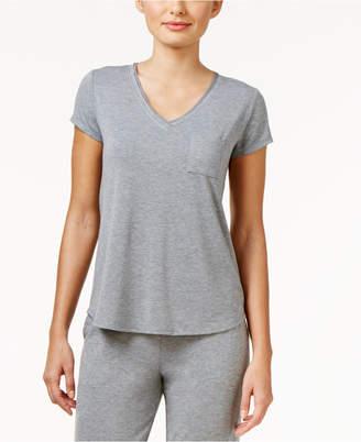 Alfani Chiffon-Trimmed Knit Pajama Top