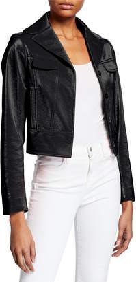 Elie Tahari Gigi Faux Leather Button-Front Cropped Moto Jacket
