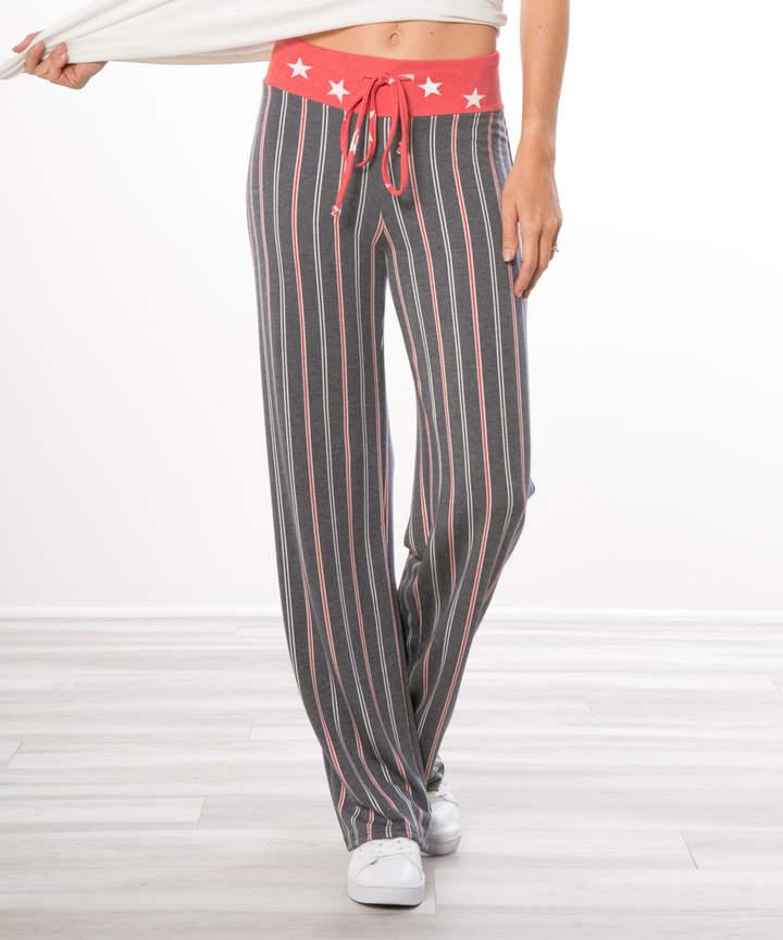 Gray Stripe Lounge Pants - Women