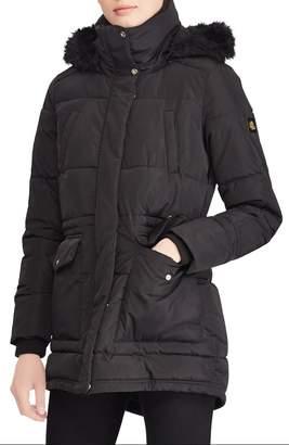 Lauren Ralph Lauren Puffer Coat with Faux Fur Trim