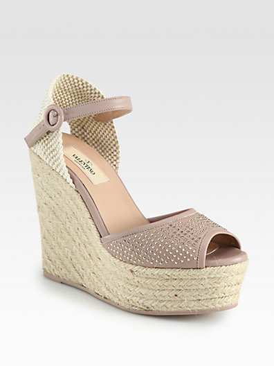 Valentino Studded Leather Espadrille Wedge Sandals