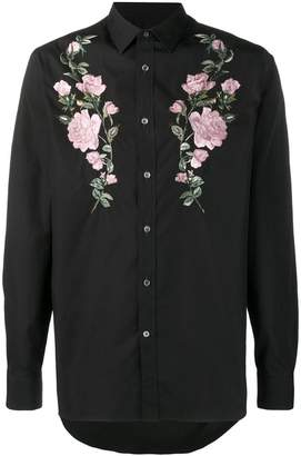 Alexander McQueen embroidered roses shirt