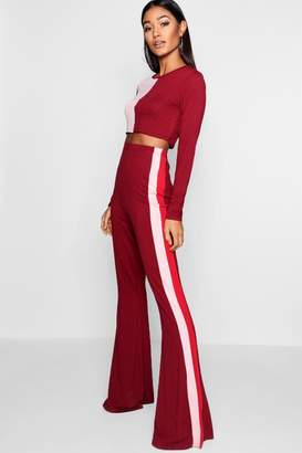 boohoo Melissa Colour Block Crop & Flare Trouser Co-ord