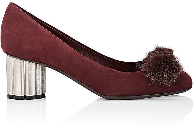Salvatore Ferragamo Women's Flower-Heel Suede Pumps