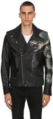 Snake Hand-Painted Leather Biker Jacket